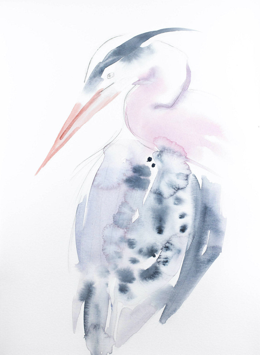 "11"" x 15"" original watercolor wildlife heron, egret or crane painting in an expressive, impressionist, minimalist, modern style by contemporary fine artist Elizabeth Becker"