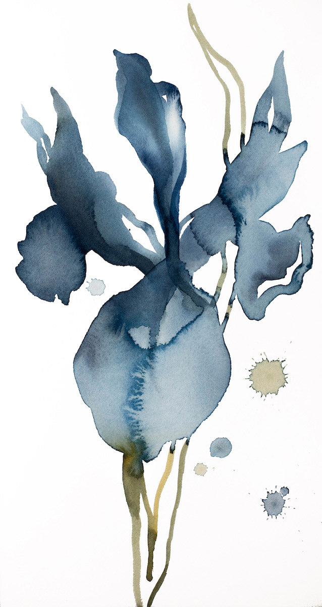 "8.5"" x 16"" original watercolor botanical iris flower painting in an expressive, impressionist, minimalist, modern style by contemporary fine artist Elizabeth Becker"