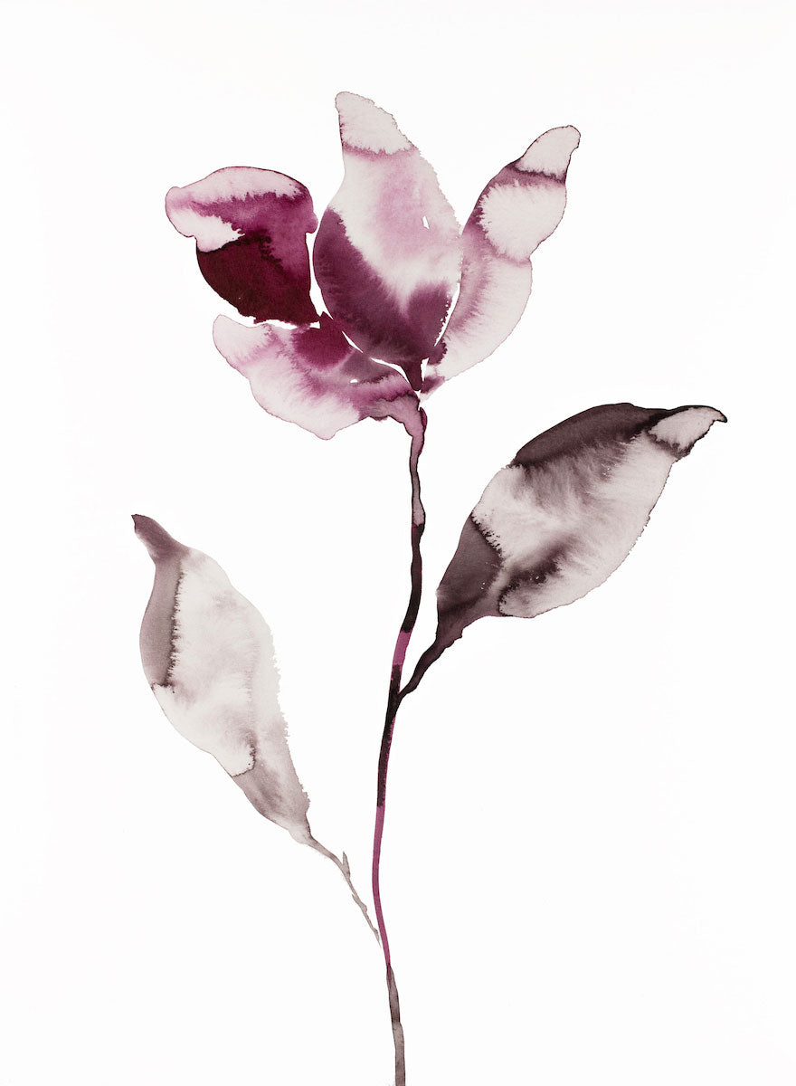 "11"" x 15"" original watercolor ink botanical magnolia floral painting in an expressive, impressionist, minimalist, modern style by contemporary fine artist Elizabeth Becker. Deep moody soft mauve purple and white colors."