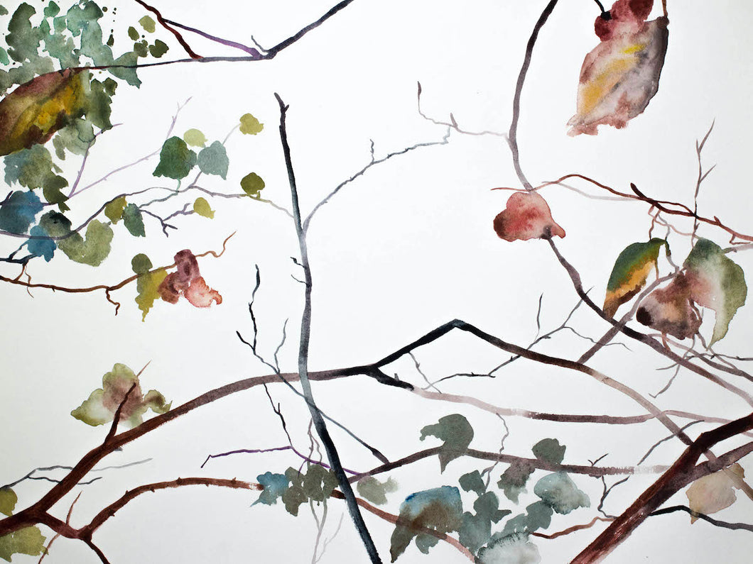 "18"" x 24"" original watercolor botanical nature painting of autumn tree branches and leaves in an abstract, xpressive, impressionist, minimalist, modern style by contemporary fine artist Elizabeth Becker"