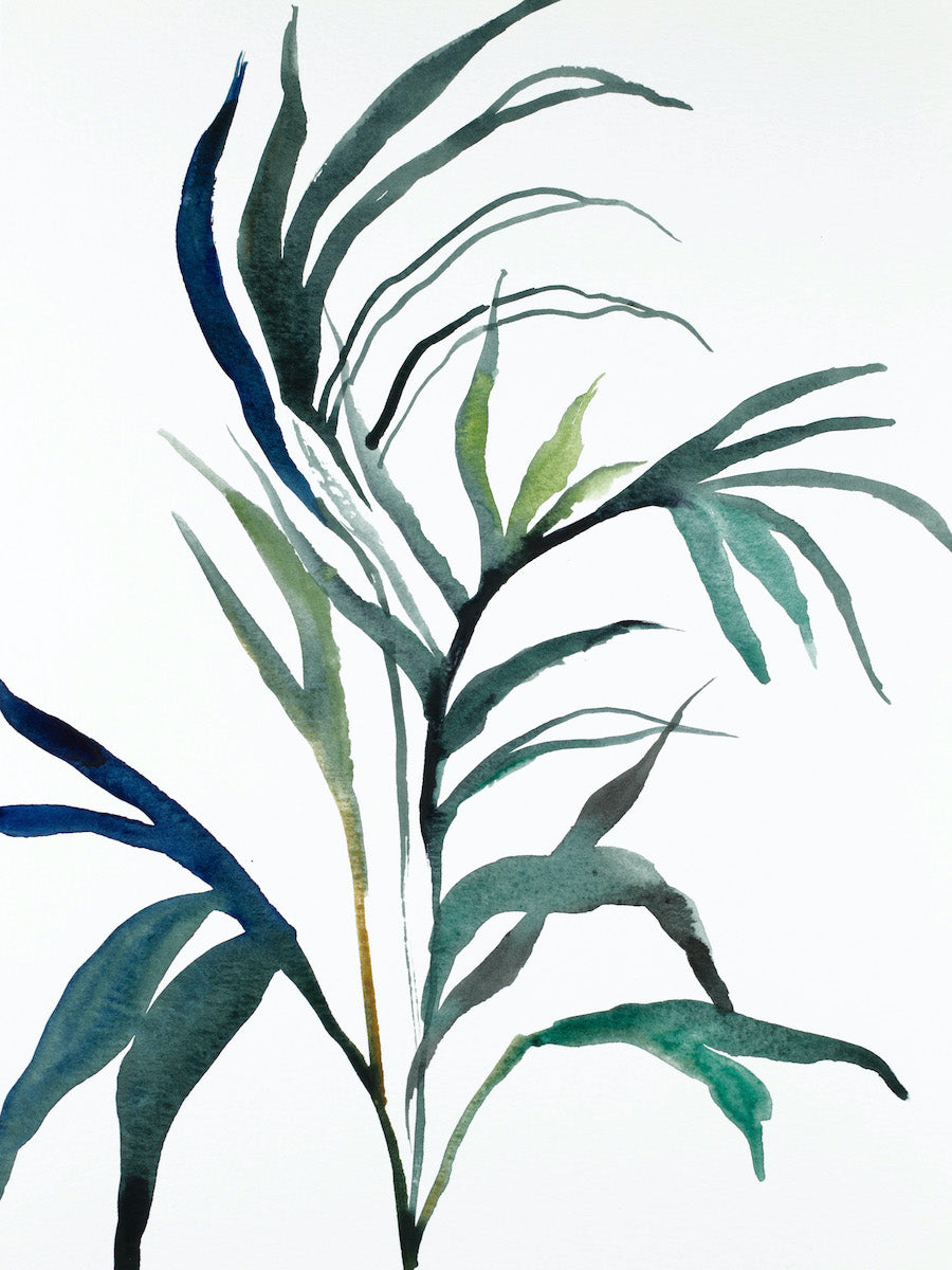 "9"" x 12"" original watercolor botanical nature plant painting of leaves and branches in an expressive, impressionist, minimalist, modern style by contemporary fine artist Elizabeth Becker. Monochromatic blue green gold and white colors."