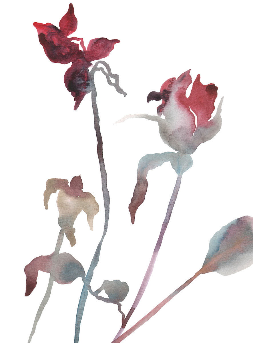 "9"" x 12"" original watercolor botanical floral rose bud painting in an ethereal, expressive, impressionist, minimalist, modern style by contemporary fine artist Elizabeth Becker. Soft and deep red, light blue green, gold, mauve purple and white colors."