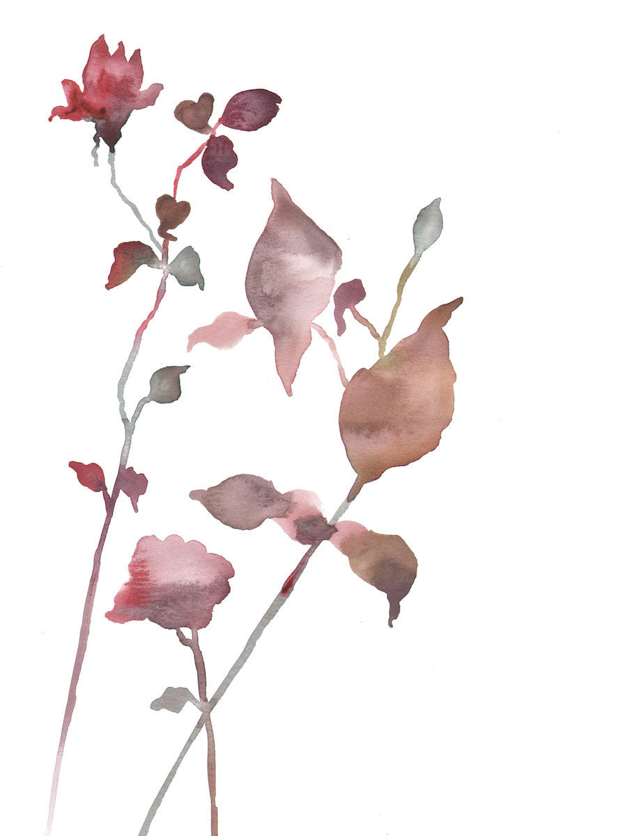"9"" x 12"" original watercolor botanical floral rose bud painting in an ethereal, expressive, impressionist, minimalist, modern style by contemporary fine artist Elizabeth Becker. Soft red, brown, mauve purple, burnt sienna and white colors."