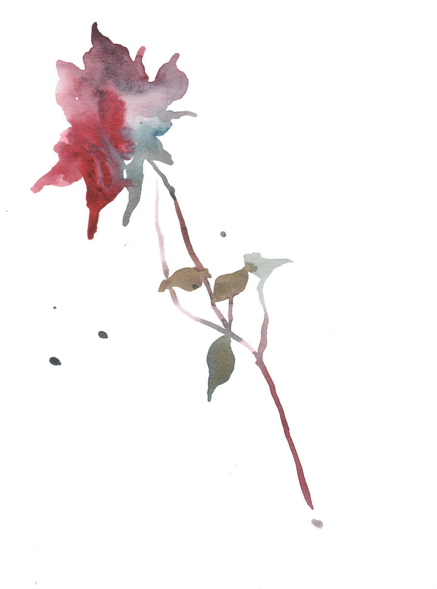 "9"" x 12"" original watercolor botanical floral rose bud painting in an ethereal, expressive, impressionist, minimalist, modern style by contemporary fine artist Elizabeth Becker. Soft red, light blue green, olive and white colors."