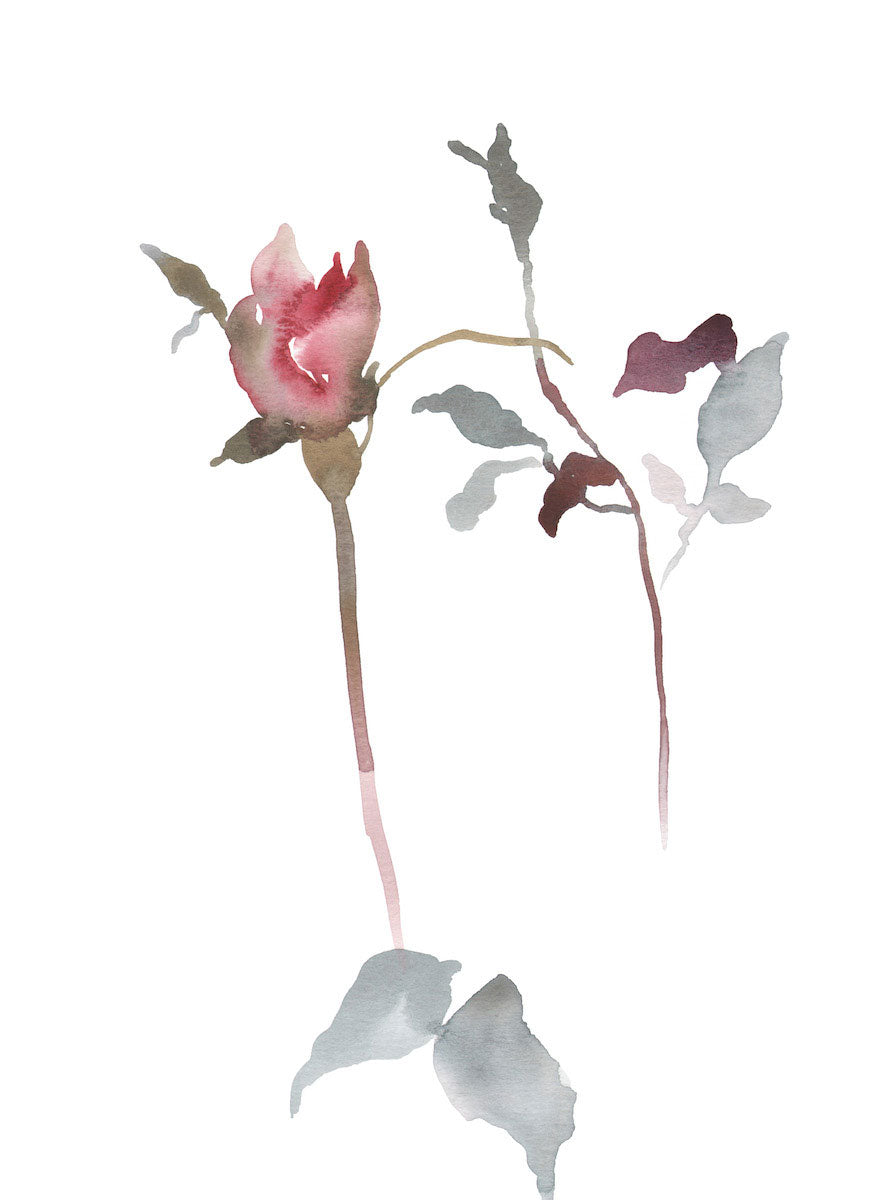 "9"" x 12"" original watercolor botanical floral rose bud painting in an ethereal, expressive, impressionist, minimalist, modern style by contemporary fine artist Elizabeth Becker. Soft red, pink, mauve purple, pale blue green and white colors."