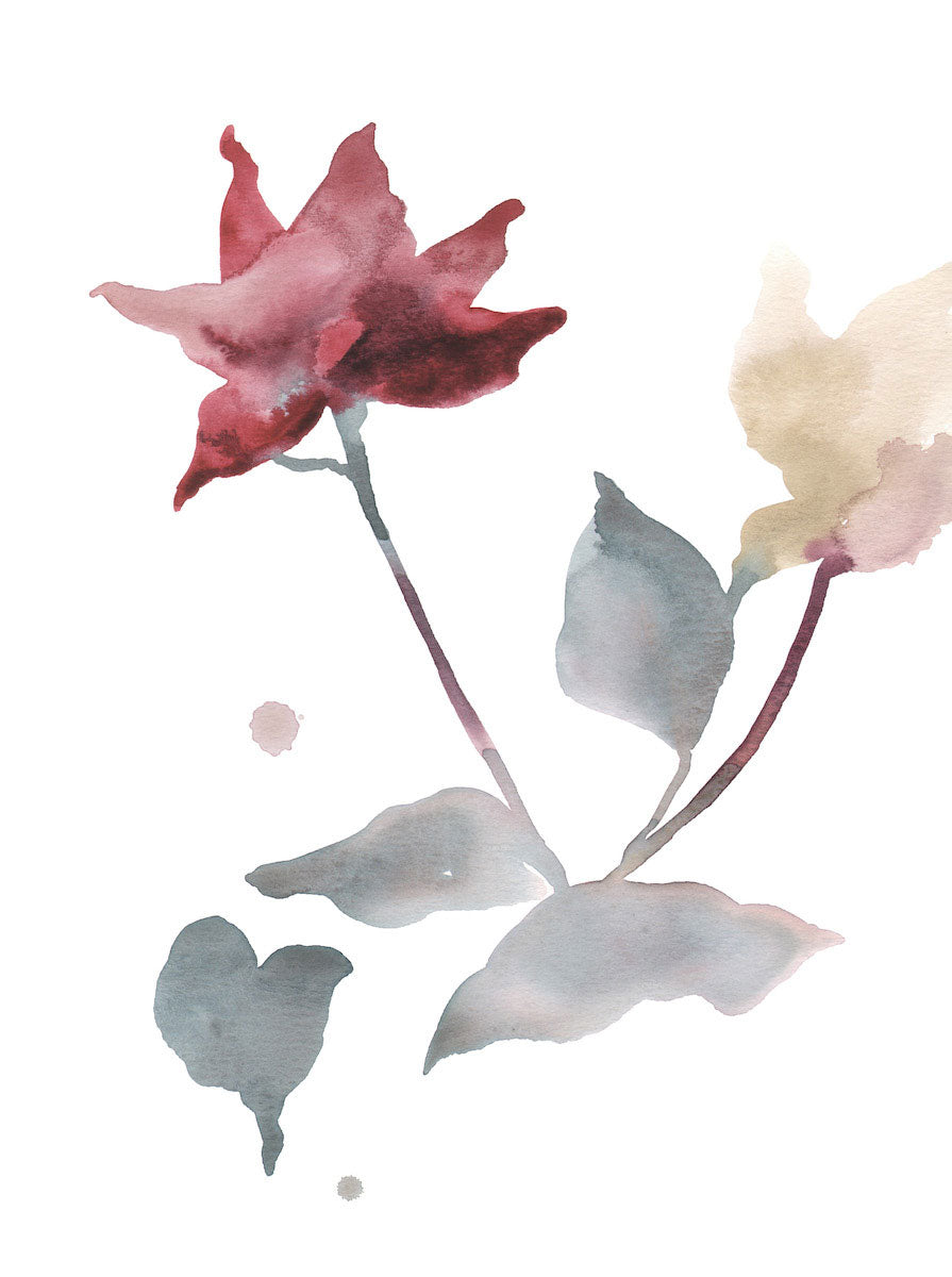 "9"" x 12"" original watercolor botanical simple floral rose painting in an ethereal, expressive, impressionist, minimalist, modern style by contemporary fine artist Elizabeth Becker. Deep red, soft blue green, pale yellow and white colors."