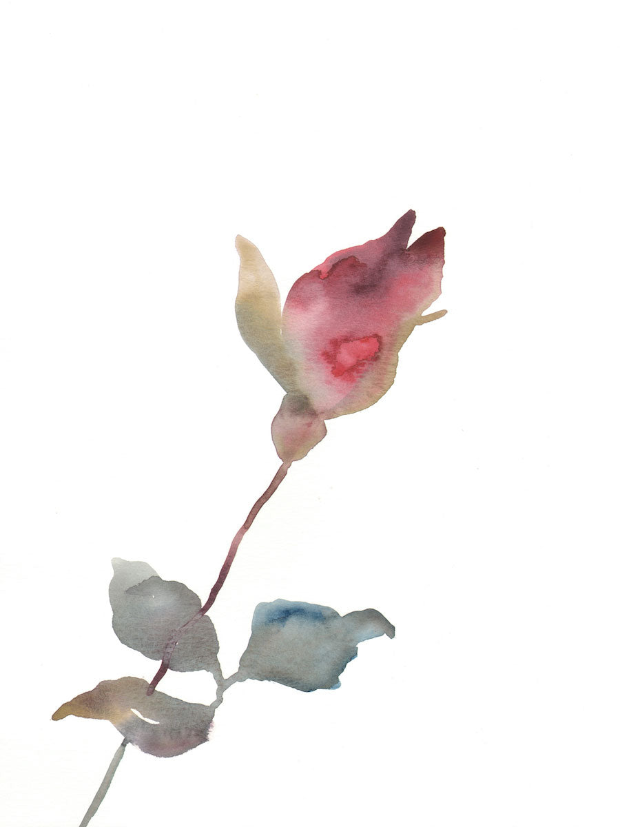 "9"" x 12"" original watercolor botanical simple floral rose painting in an ethereal, expressive, impressionist, minimalist, modern style by contemporary fine artist Elizabeth Becker. Deep red, soft olive gold, light blue green and white colors."