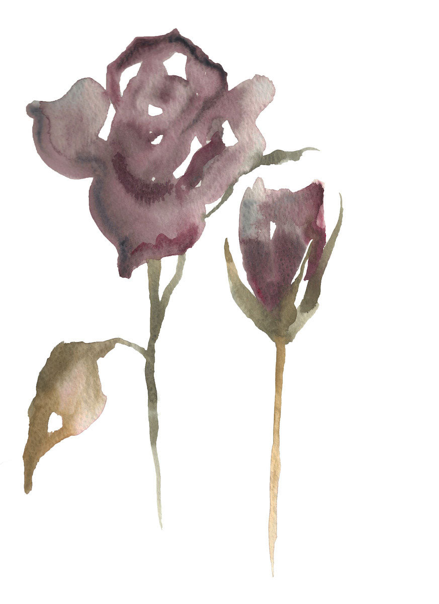 "9"" x 12"" original watercolor botanical floral rose painting in an ethereal, expressive, impressionist, minimalist, modern style by contemporary fine artist Elizabeth Becker. Soft and deep moody mauve purple, brown, olive green and white colors."