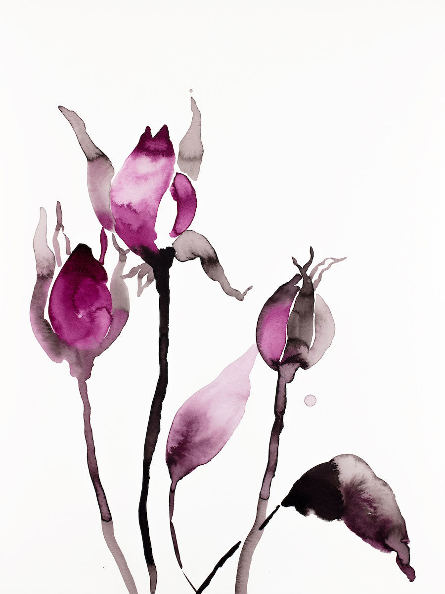 "9"" x 12"" original watercolor ink botanical hellebore floral painting in an expressive, impressionist, minimalist, modern style by contemporary fine artist Elizabeth Becker. Deep moody monochromatic fuschia pink black and white colors."