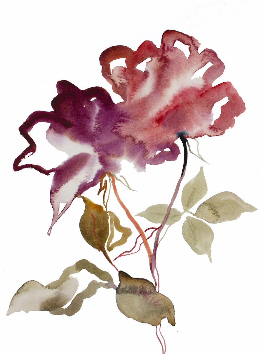 "9"" x 12"" original watercolor botanical floral rose painting in an expressive, impressionist, minimalist, modern style by contemporary fine artist Elizabeth Becker. Soft red, purple, green gold and white colors."