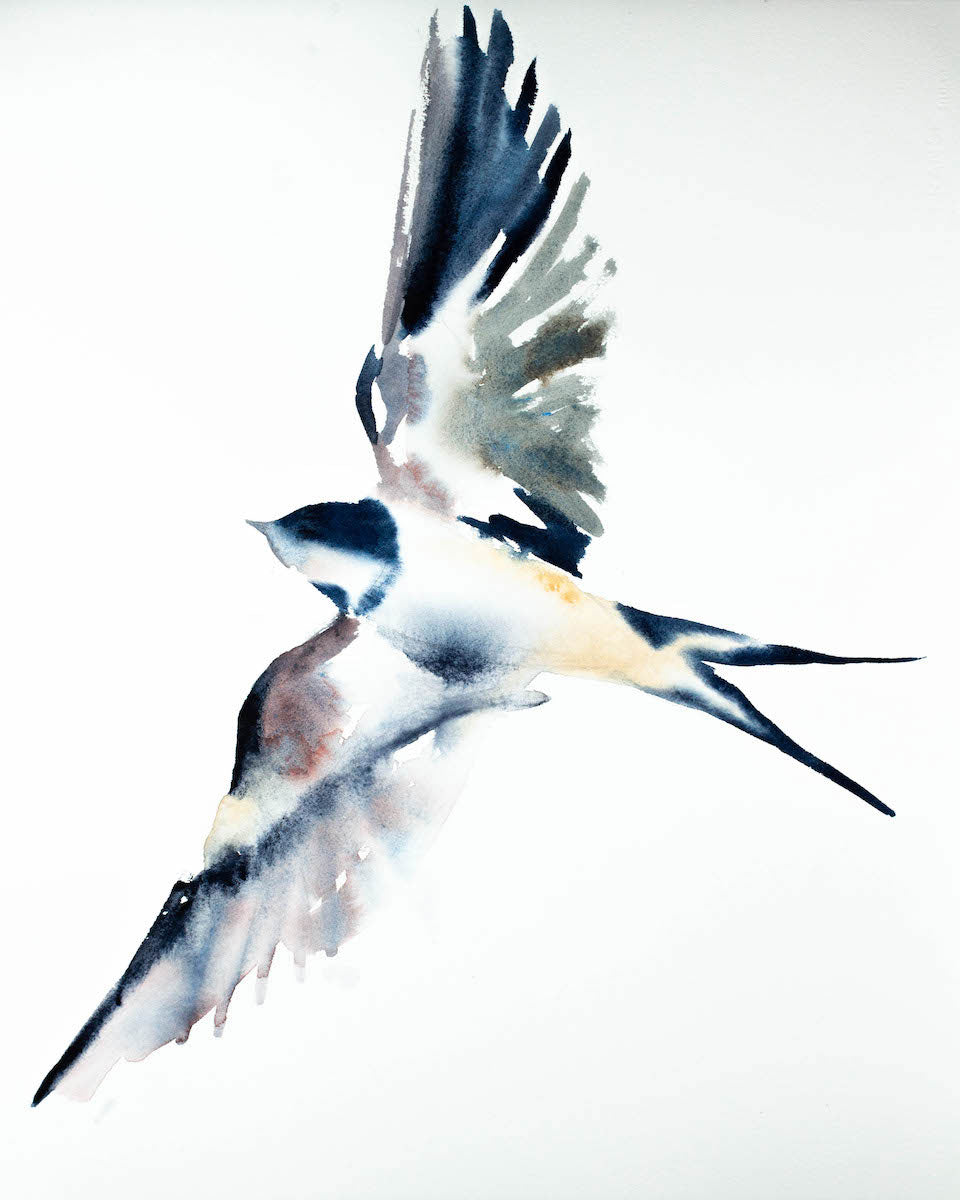 "16"" x 20"" original watercolor flying swallow bird painting in an expressive, impressionist, minimalist, modern style by contemporary fine artist Elizabeth Becker. Soft blue, gray, mauve purple and white colors."
