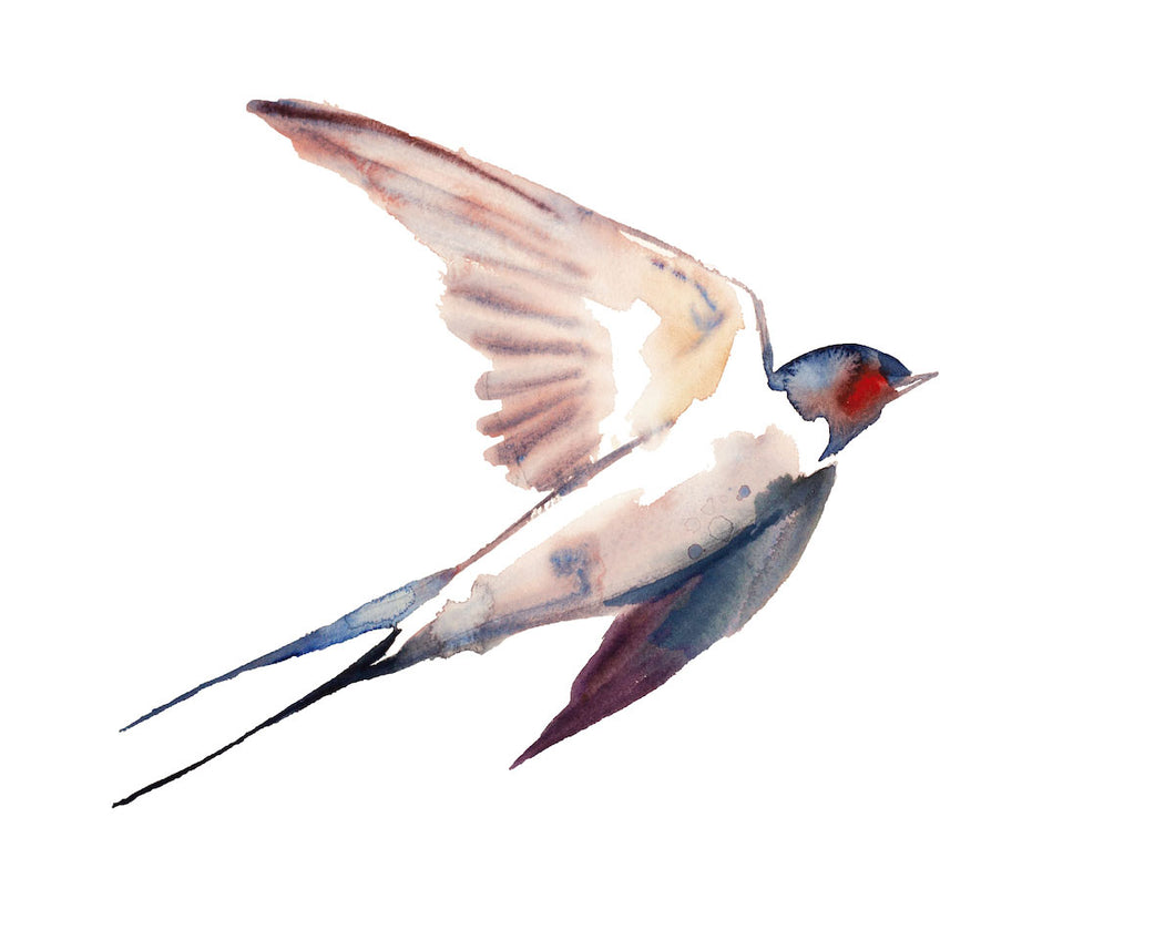 "16"" x 20"" original watercolor flying barn swallow bird painting in an expressive, impressionist, minimalist, modern style by contemporary fine artist Elizabeth Becker. Soft peach, red, blue, purple and white colors."