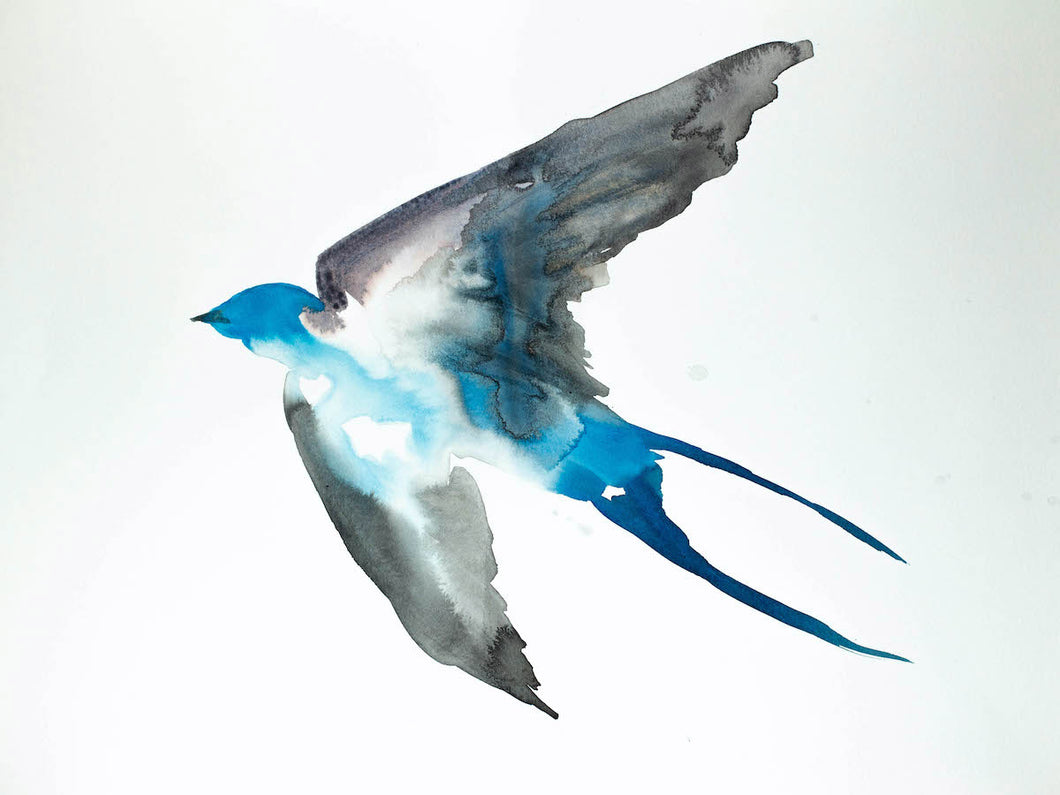 "18"" x 24"" original watercolor and ink flying swallow bird painting in an expressive, impressionist, minimalist, modern style by contemporary fine artist Elizabeth Becker. Monochromatic blue, gray, black and white colors."