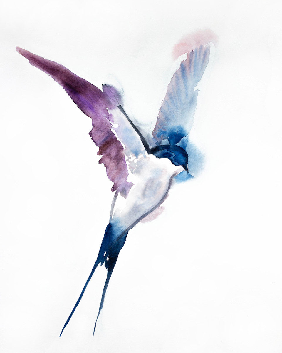 "16"" x 20"" original watercolor flying swallow bird painting in an expressive, impressionist, minimalist, modern style by contemporary fine artist Elizabeth Becker. Soft purple, blue, pink and white colors."