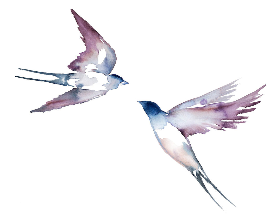"16"" x 20"" original watercolor flying swallow birds painting in an expressive, impressionist, minimalist, modern style by contemporary fine artist Elizabeth Becker. Soft blue, mauve purple and white colors."