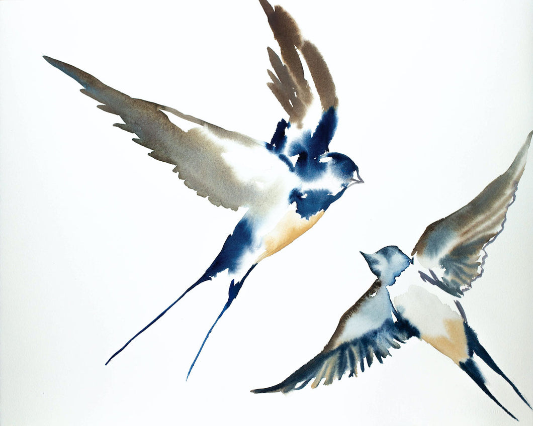 "16"" x 20"" original watercolor flying swallow birds painting in an expressive, impressionist, minimalist, modern style by contemporary fine artist Elizabeth Becker. Deep blue, soft peach, light yellow, gray and white colors."