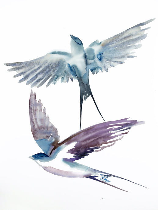 "18"" x 24"" original watercolor flying swallow birds painting in an expressive, impressionist, minimalist, modern style by contemporary fine artist Elizabeth Becker. Monochromatic soft blue gray, purple and white colors."