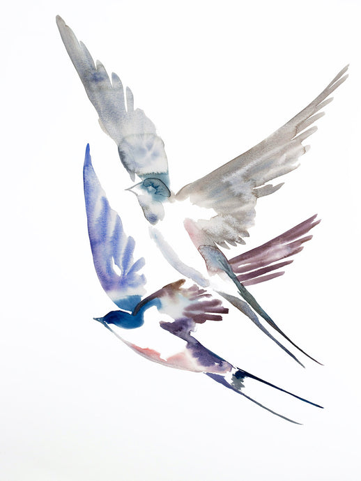 "18"" x 24"" original watercolor flying swallow birds painting in an expressive, impressionist, minimalist, modern style by contemporary fine artist Elizabeth Becker. Soft blue gray, mauve purple and white colors."