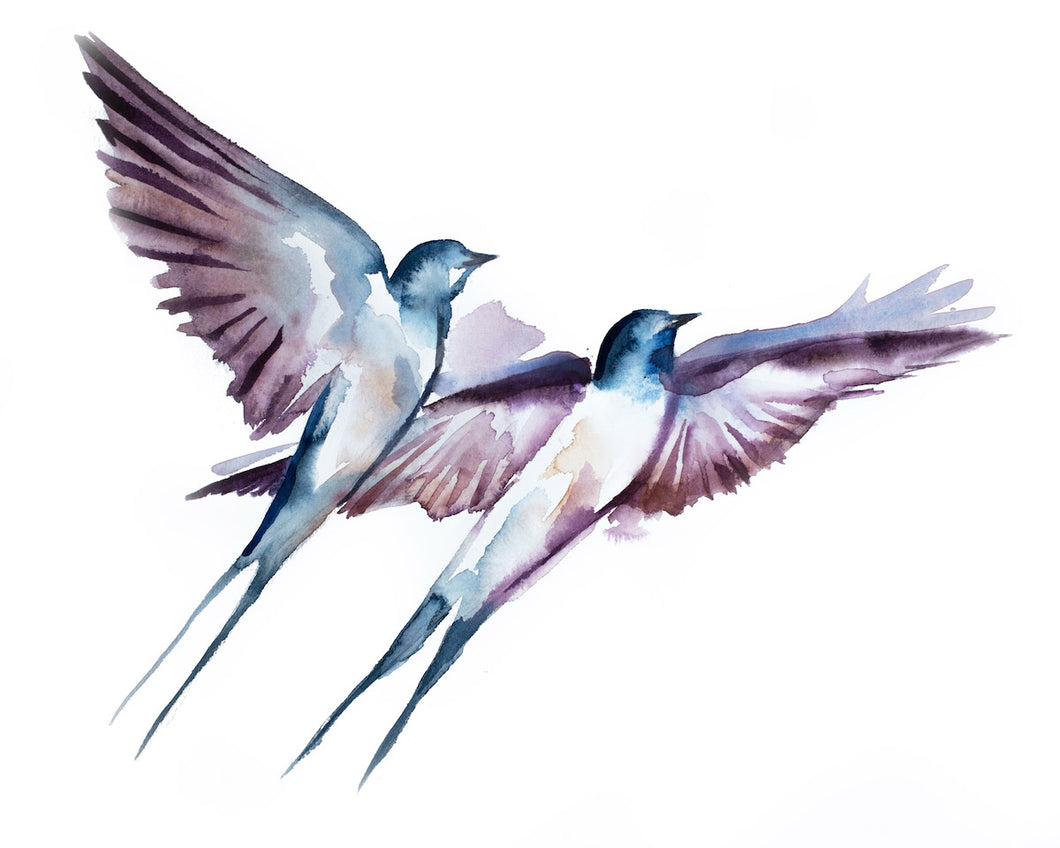 "16"" x 20"" original watercolor flying swallow birds painting in an expressive, impressionist, minimalist, modern style by contemporary fine artist Elizabeth Becker. Monochromatic soft blue, mauve purple and white colors."