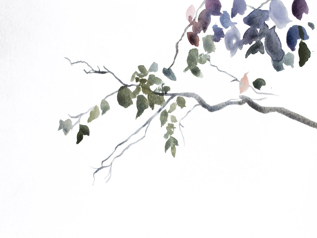 "9"" x 12"" original watercolor abstract botanical nature painting of tree branches and leaves in an expressive, impressionist, minimalist, modern style by contemporary fine artist Elizabeth Becker. Soft monochromatic blue gray, green, purple and white colors."