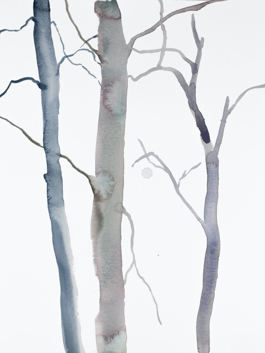 "9"" x 12"" original watercolor botanical nature tree painting in an expressive, impressionist, minimalist, modern style by contemporary fine artist Elizabeth Becker. Soft monochromatic payne's grey, blue and white colors."