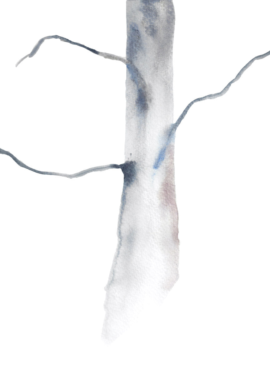"9"" x 12"" original watercolor botanical nature tree painting in an expressive, impressionist, minimalist, modern style by contemporary fine artist Elizabeth Becker. Soft muted neutral ethereal gray and white colors."