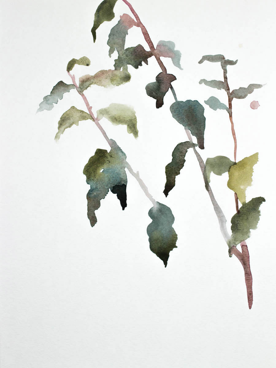 "9"" x 12"" original watercolor botanical nature painting of plant and leaves in an expressive, impressionist, minimalist, modern style by contemporary fine artist Elizabeth Becker. Soft monochromatic muted blue green, gold, purple and white colors."