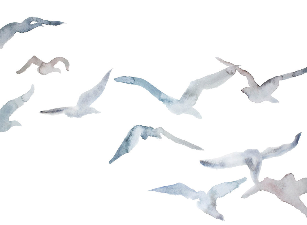"18"" x 24"" original watercolor flying geese birds painting in an ethereal, expressive, impressionist, minimalist, modern style by contemporary fine artist Elizabeth Becker. Soft pale monochromatic blue, gray, mauve and white colors."
