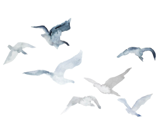 "18"" x 24"" original watercolor flying geese birds painting in an ethereal, expressive, impressionist, minimalist, modern style by contemporary fine artist Elizabeth Becker. Soft muted pale blue, payne's gray and white colors."