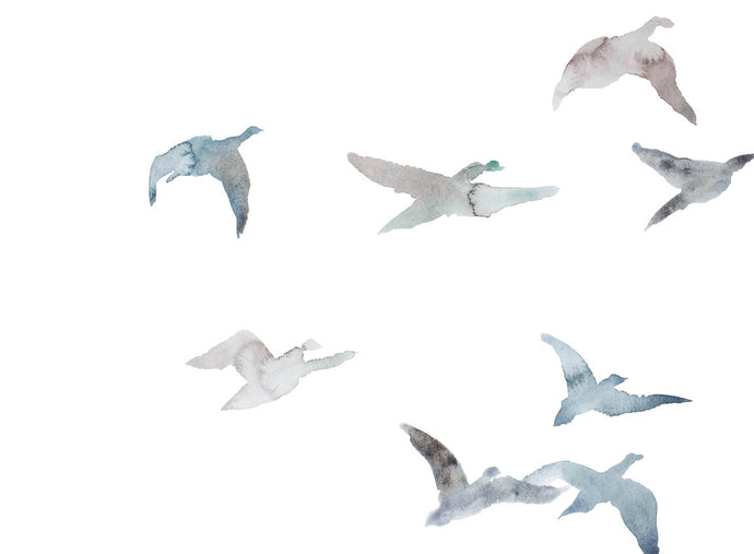 "18"" x 24"" original watercolor flying geese birds painting in an ethereal, expressive, impressionist, minimalist, modern style by contemporary fine artist Elizabeth Becker. Soft pale muted blue green gray, mauve and white colors."