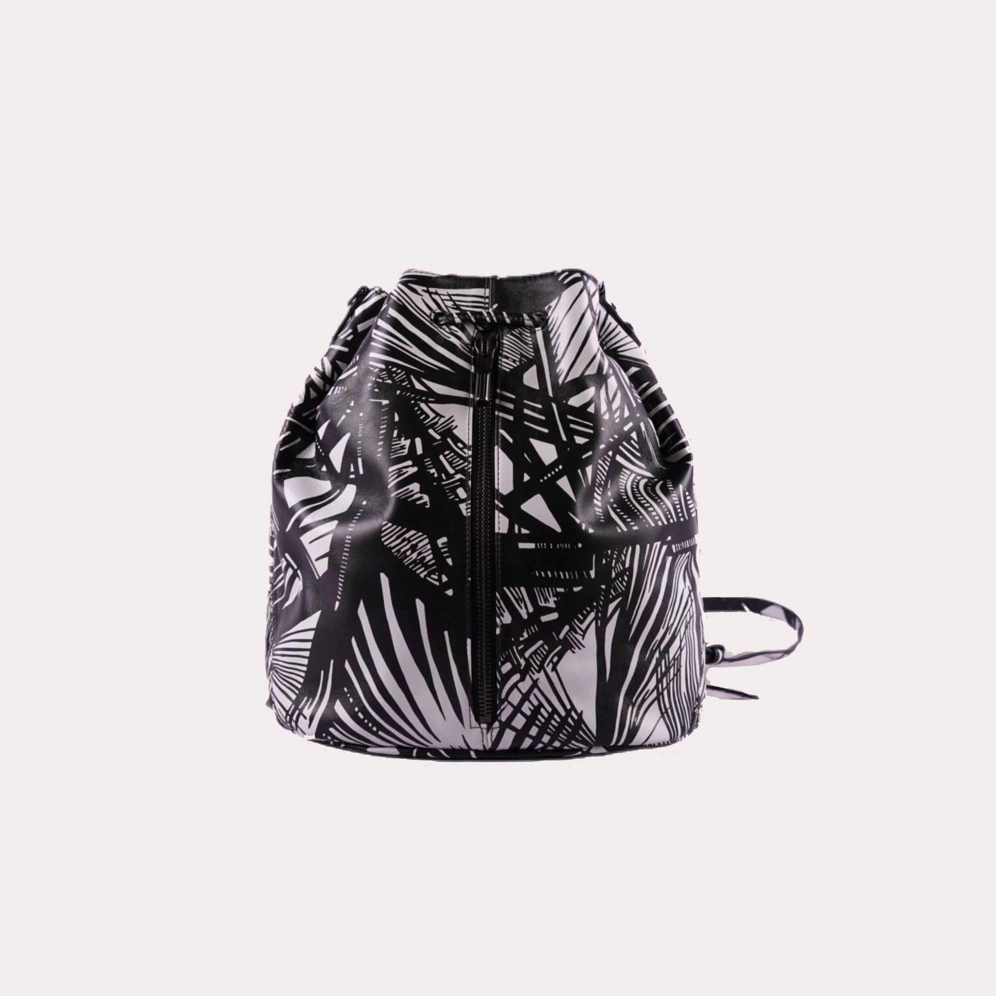 Cynnie Sling Leather Bucket Bag with Front Zipper