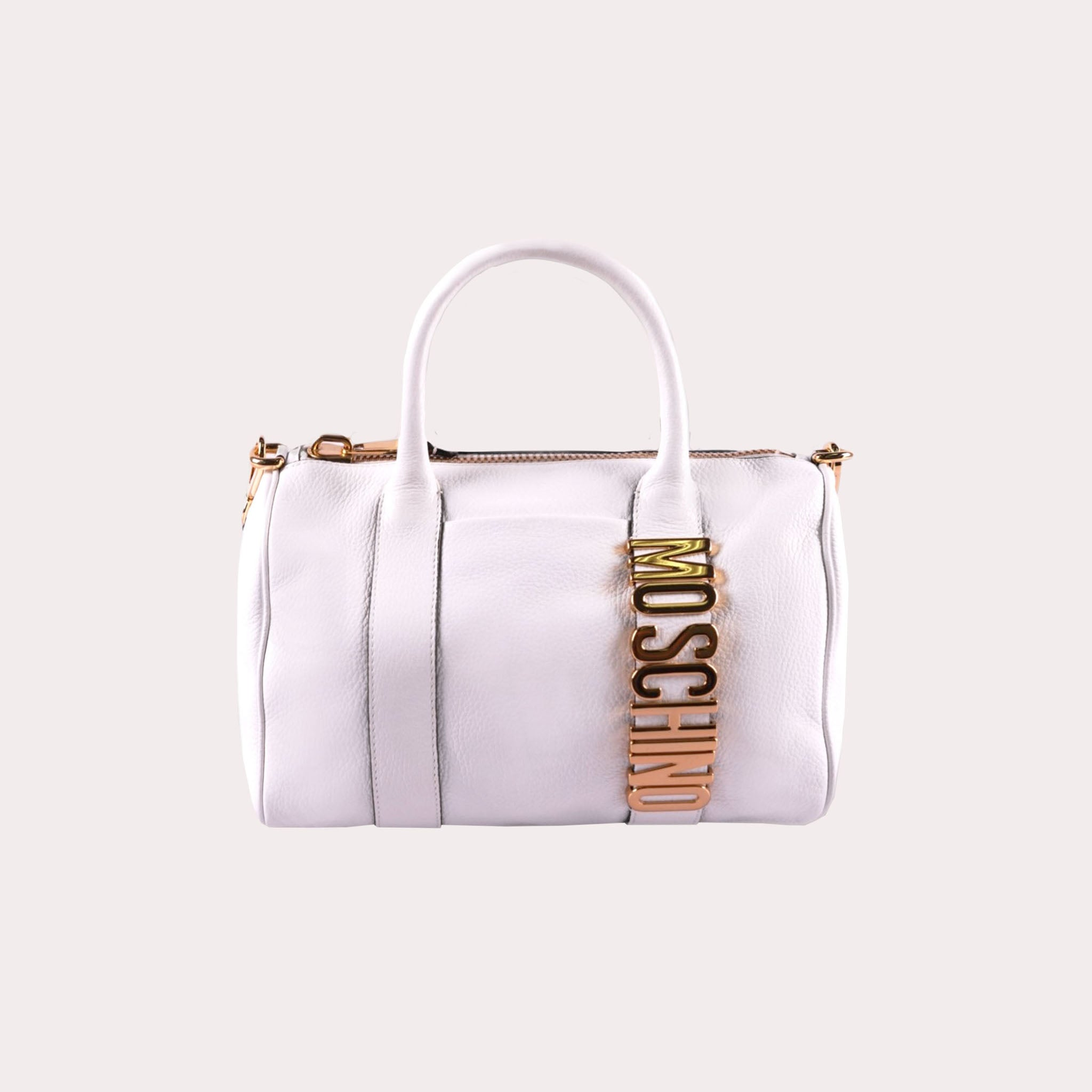 Logo Plaque Leather Handbag