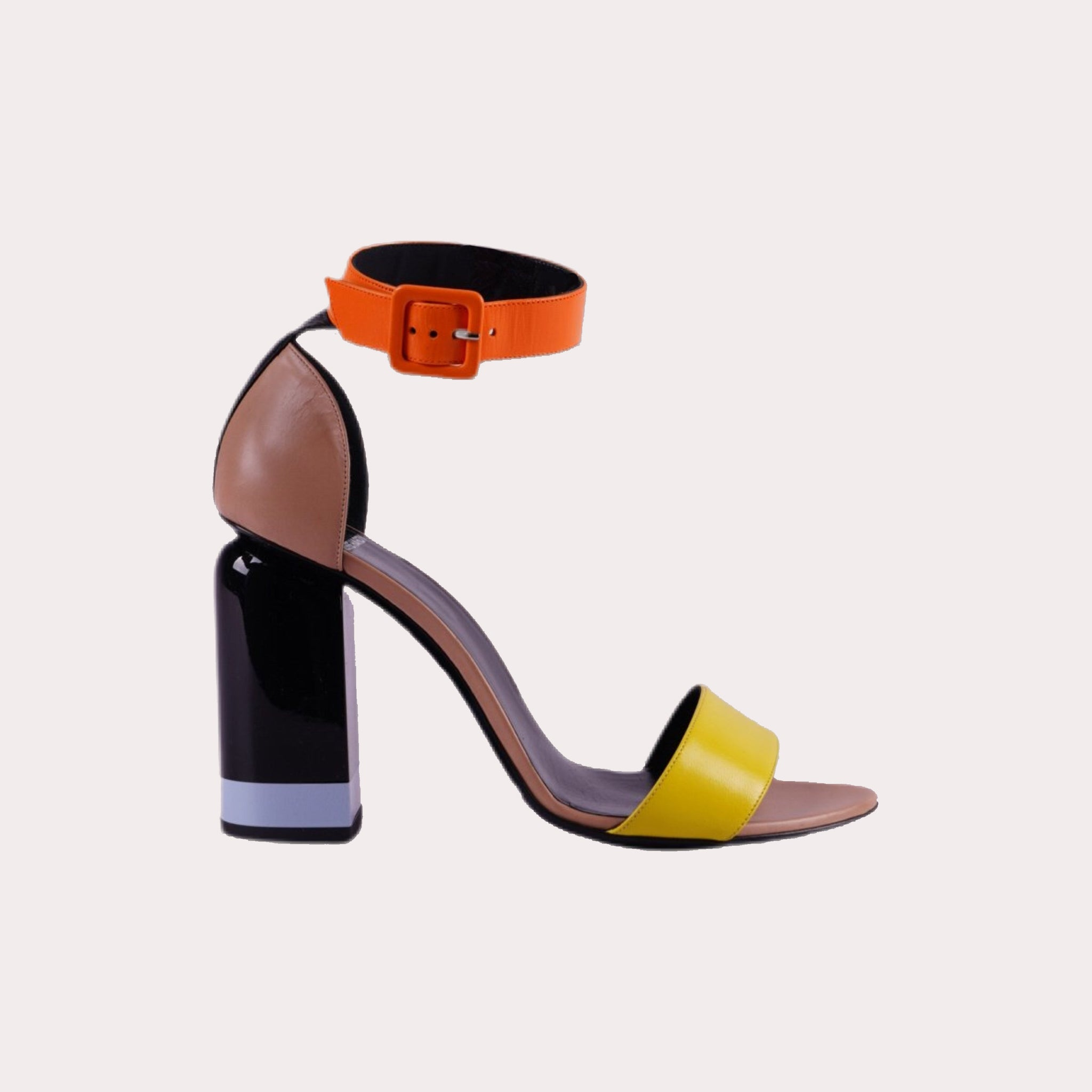 Color Block Leather Sandals