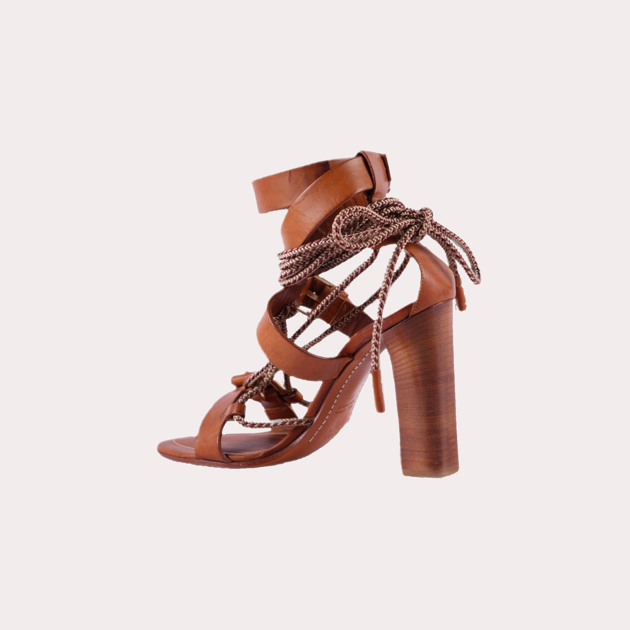 Tan Rope-Trimmed Leather Sandals