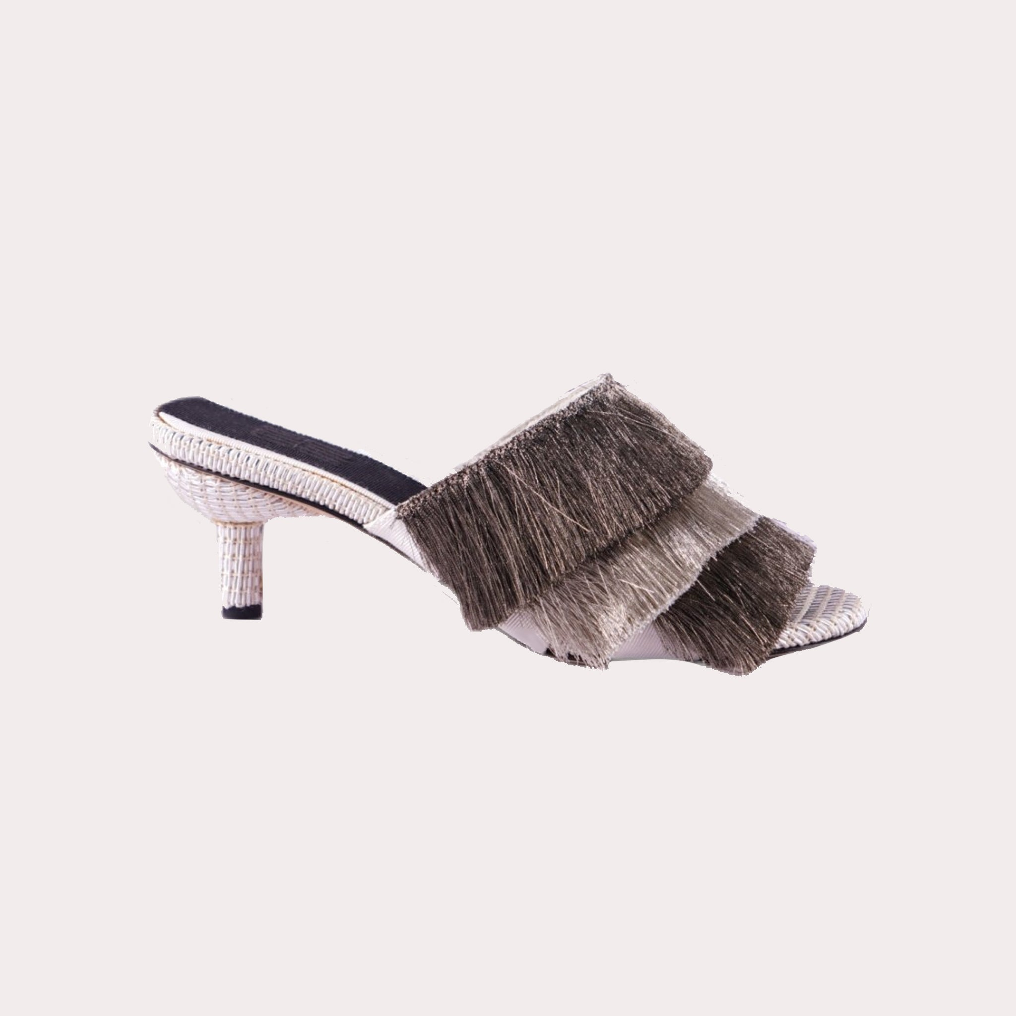 Leather Mules with Layered Fringes