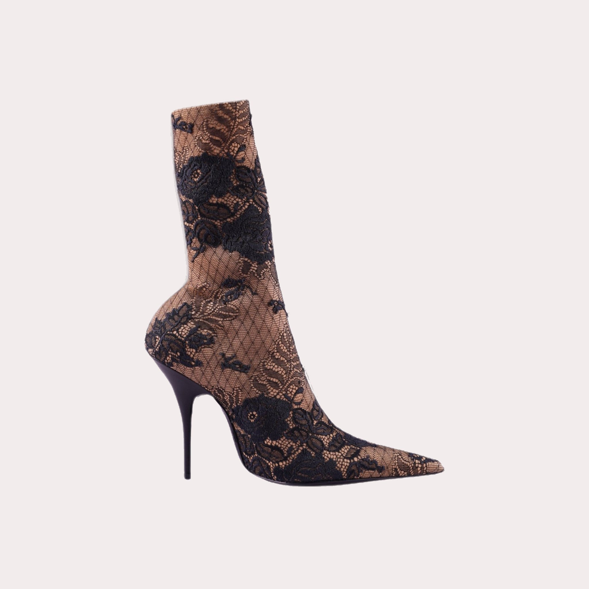 Nude with Black Lace Knife Heel Boots