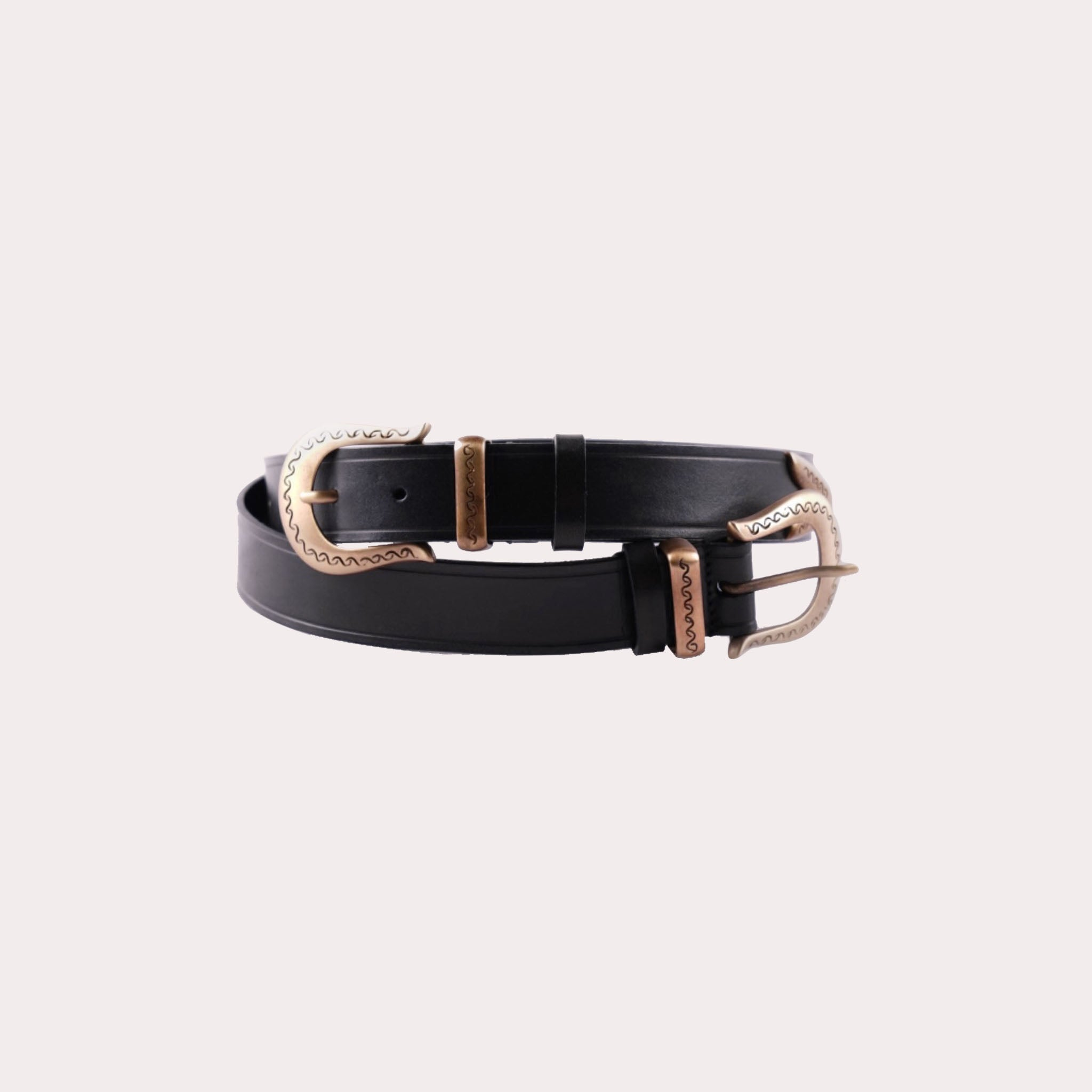Leather Embossed Double Buckle Belt