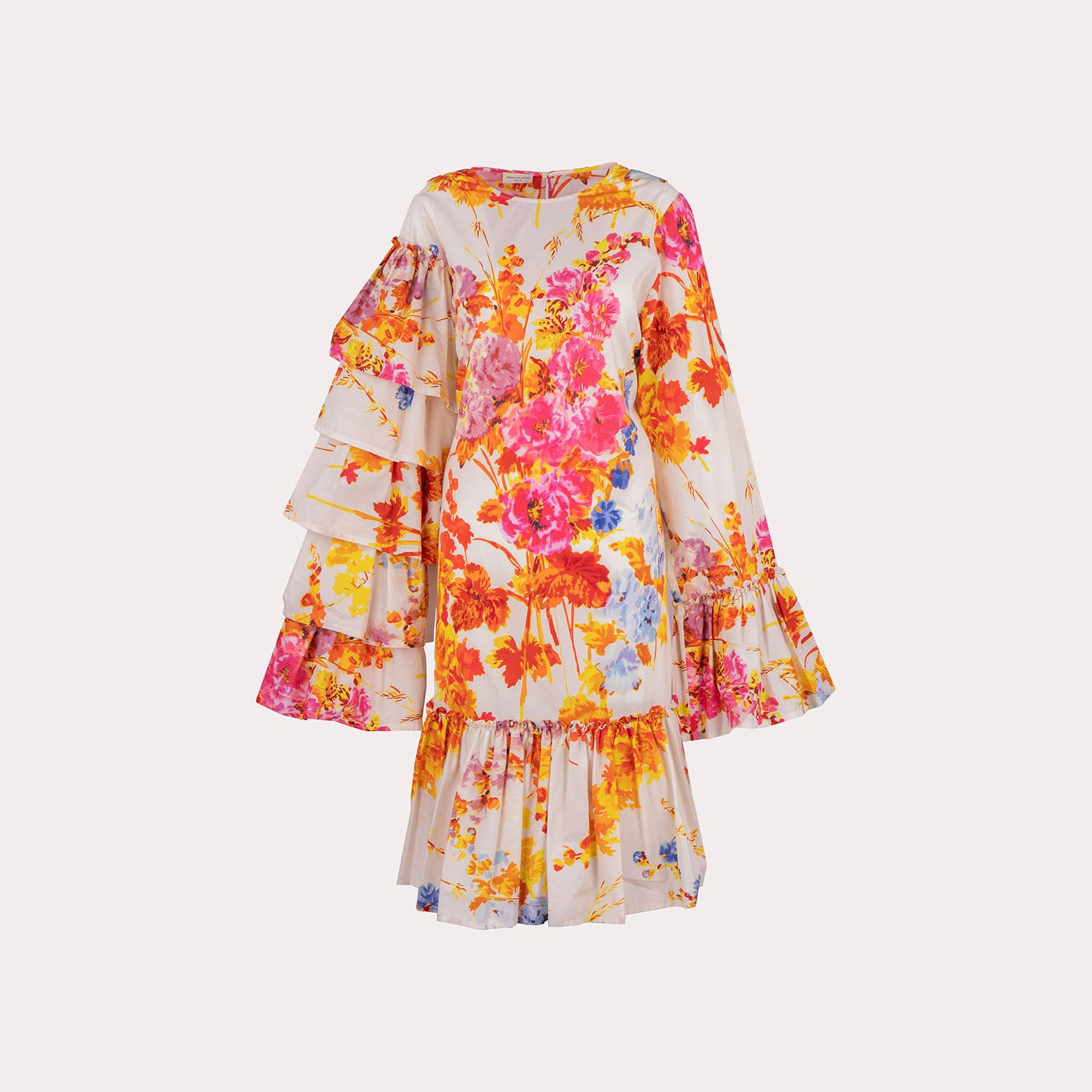 Floral Oversized Sleeves Ruffle Dress