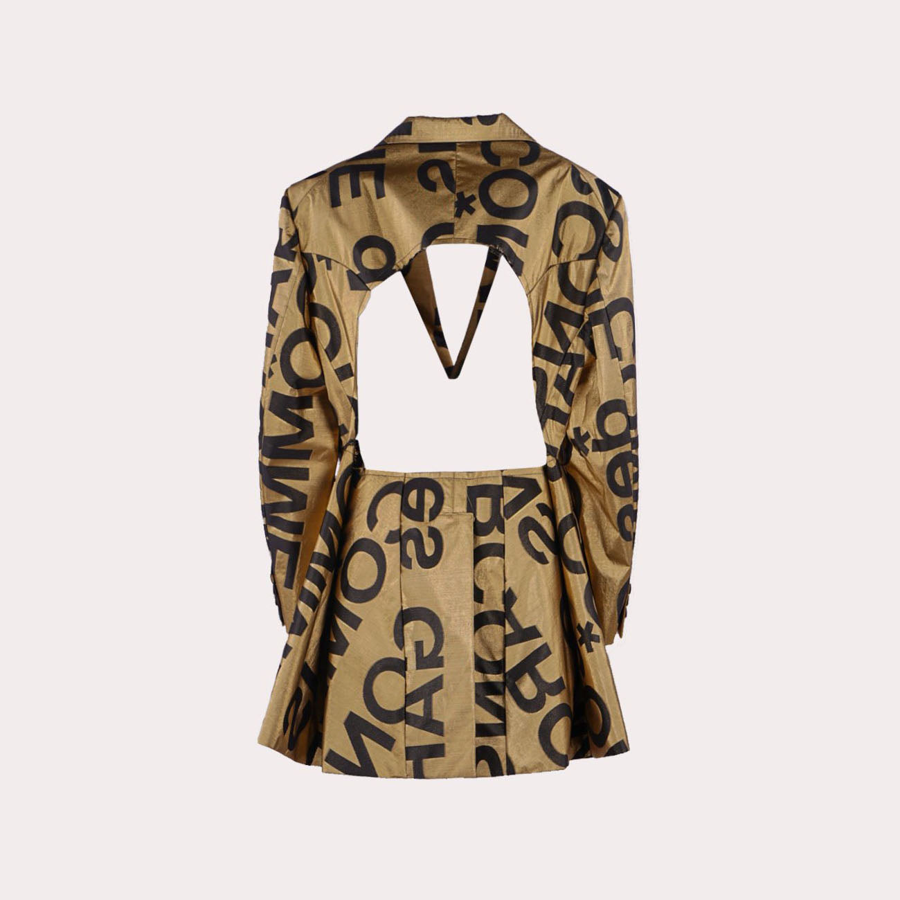 Logo-print Cut-out Blazer In Gold