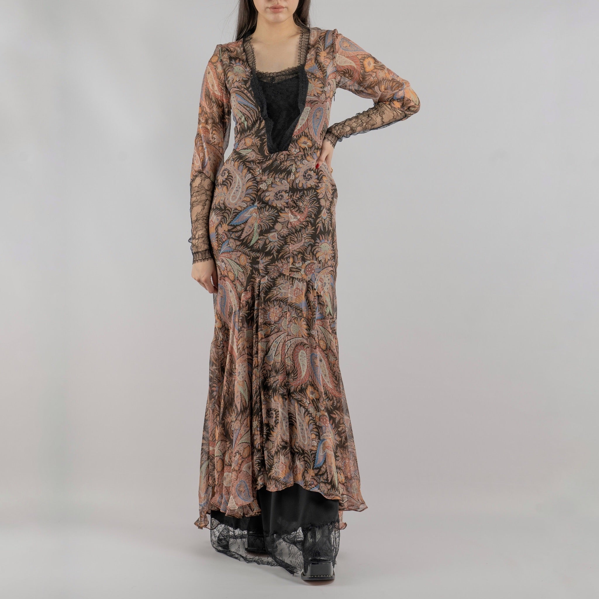 Sheer Silk Long Dress