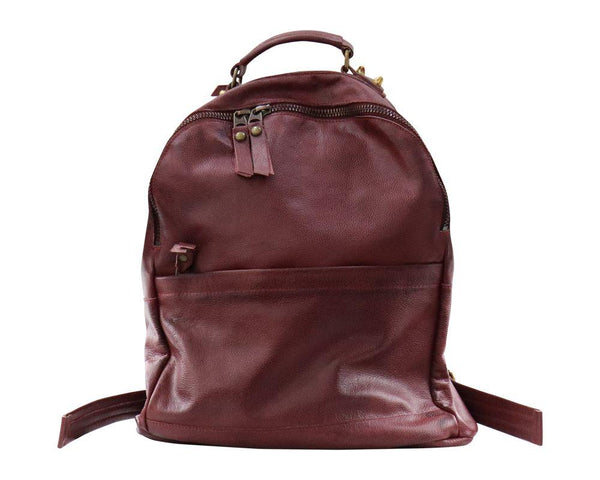 Zaino in pelle bordeaux
