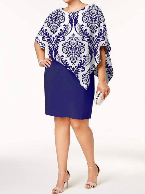 Exclusive Round Neck Print Wrap Sheath Above Knee Half Sleeve Dresses UED131