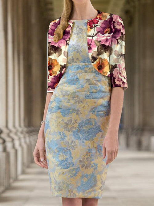 Exclusive Boat Neck Floral Two-piece Sheath Above Knee Half Sleeve Dresses UED140