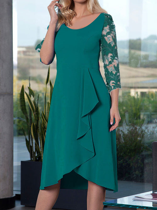 Exclusive Round Neck Floral Asymmetric Hem 3/4 Length Sleeve A-Line Casual Midi Dresses UED124