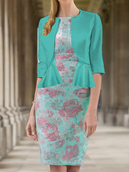 Exclusive Boat Neck Floral Two-piece Sheath Above Knee Half Sleeve Dresses UED142