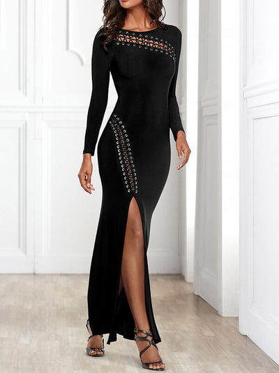Black Long Sleeve Sexy Bodycon Solid Color Slit Cocktail Party Maxi Dresses UMD114