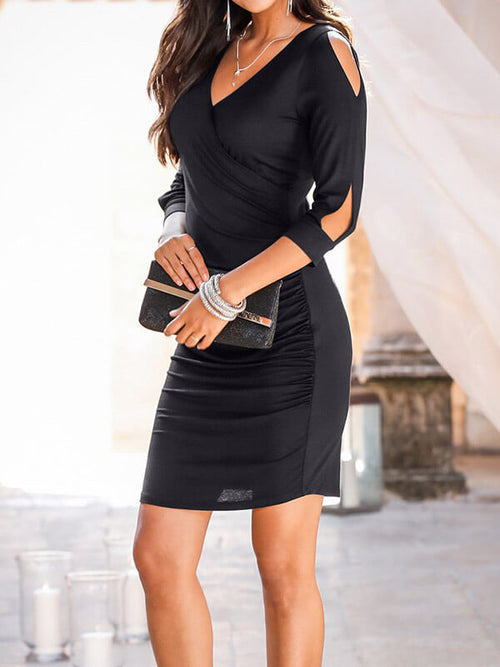 Black Sexy Bodycon Solid Color Above Knee Cocktail Party Dresses UMD112