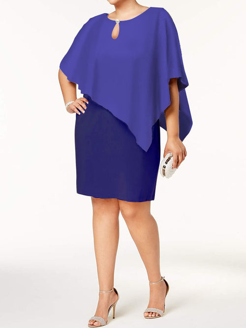 Exclusive Round Neck Solid Color Wrap Sheath Above Knee Half Sleeve Dresses UED132