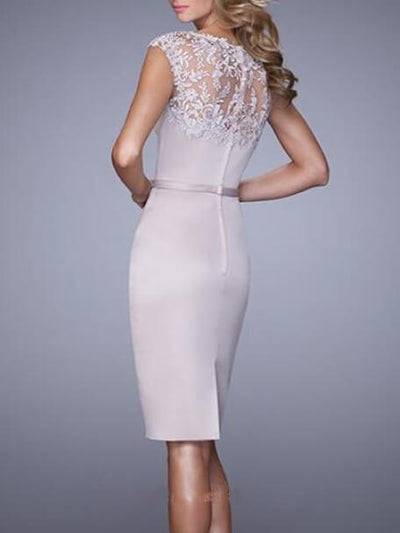 Bodycon Satin Lace Round Neck Sleeveless Knee Length Cocktail Party Wedding Mother's Dresses UPD207