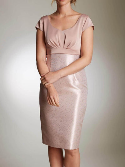 Bodycon Satin V Neck 3/4 Sleeves Knee Length Cocktail Party Wedding Mother's Dresses UPD249